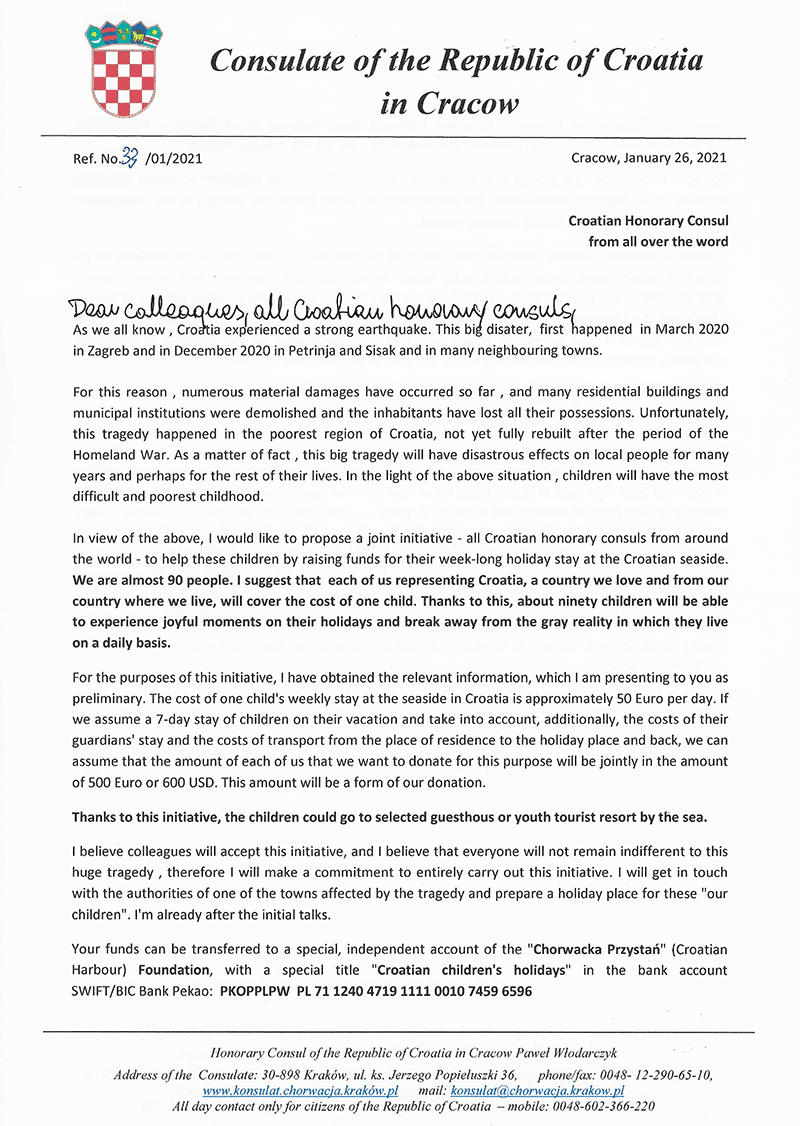 The letter to Croatian honorary consuls page 1/2